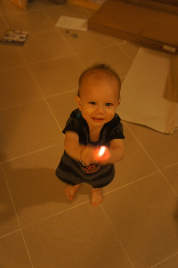 Holding a lantern light that was from the Kaohsiung lantern festival paper dragon.